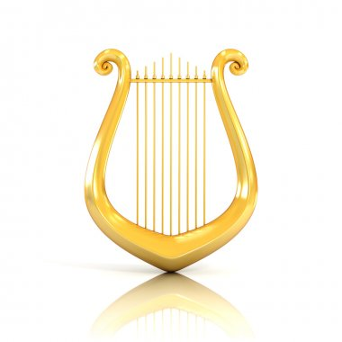 lyre 3d illustration isolated on white