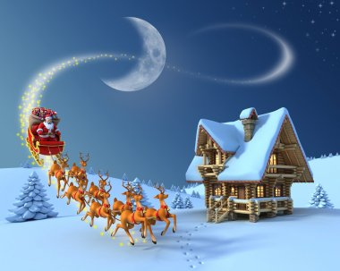 Christmas night scene - Santa Claus rides reindeer sleigh in front of the log house