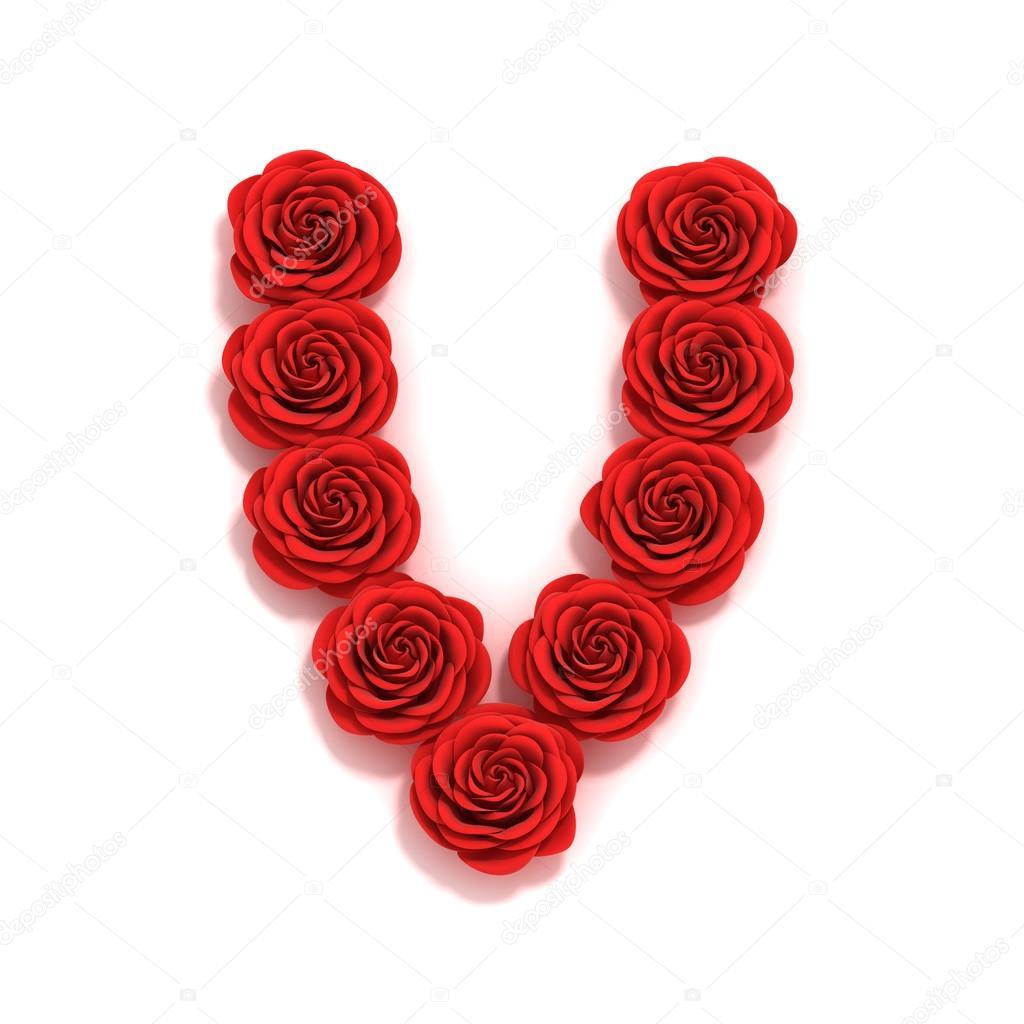 rose font letter V