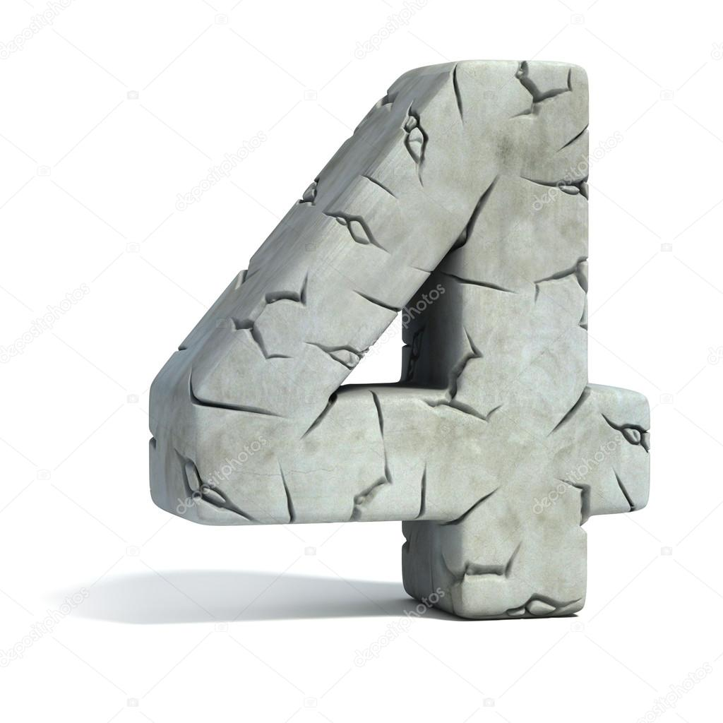 Number 4 cracked stone 3d font