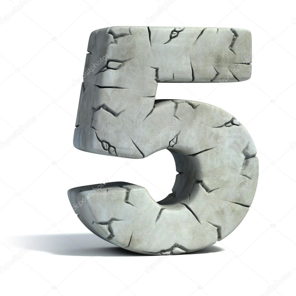 Number 5 cracked stone 3d font