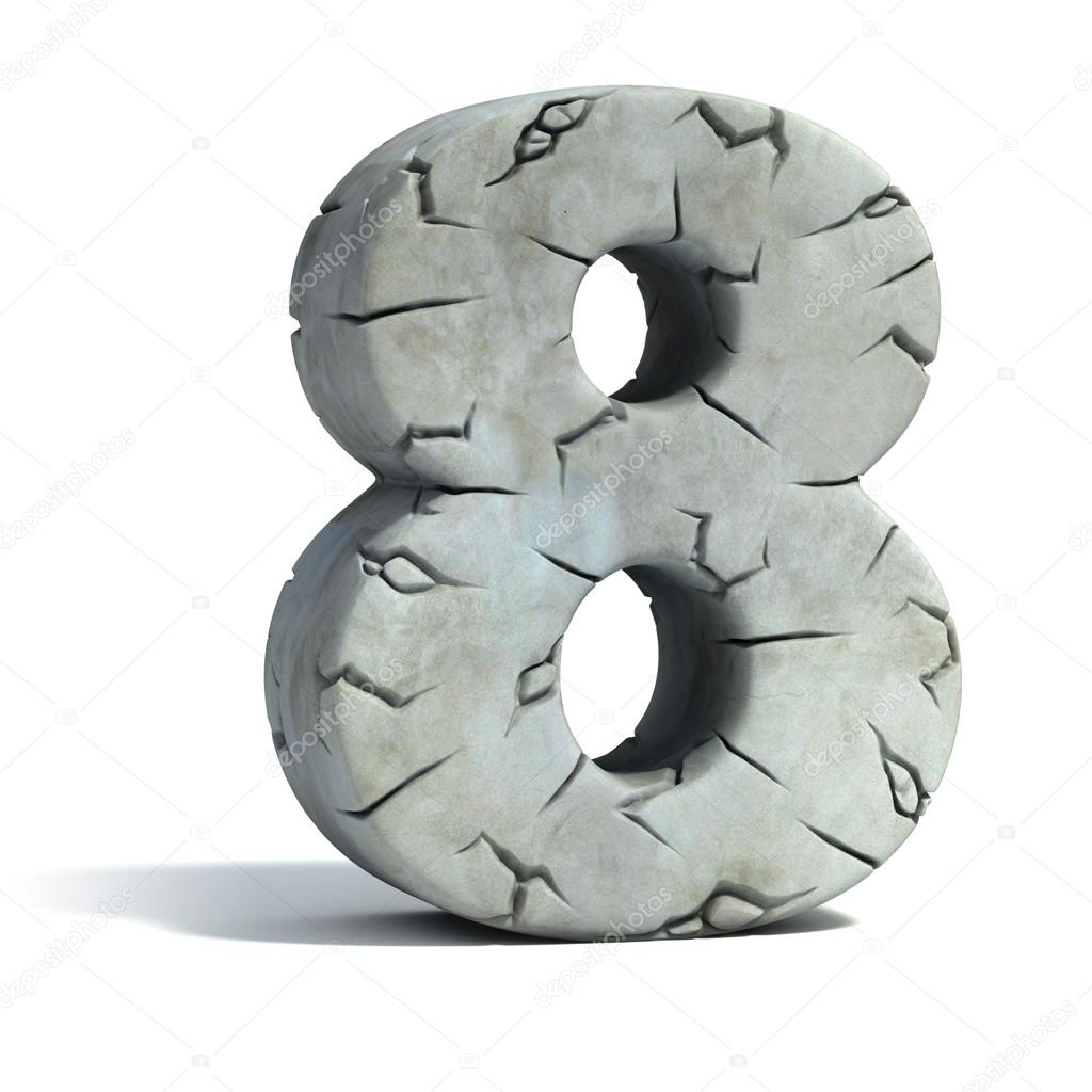 Number 8 cracked stone 3d font