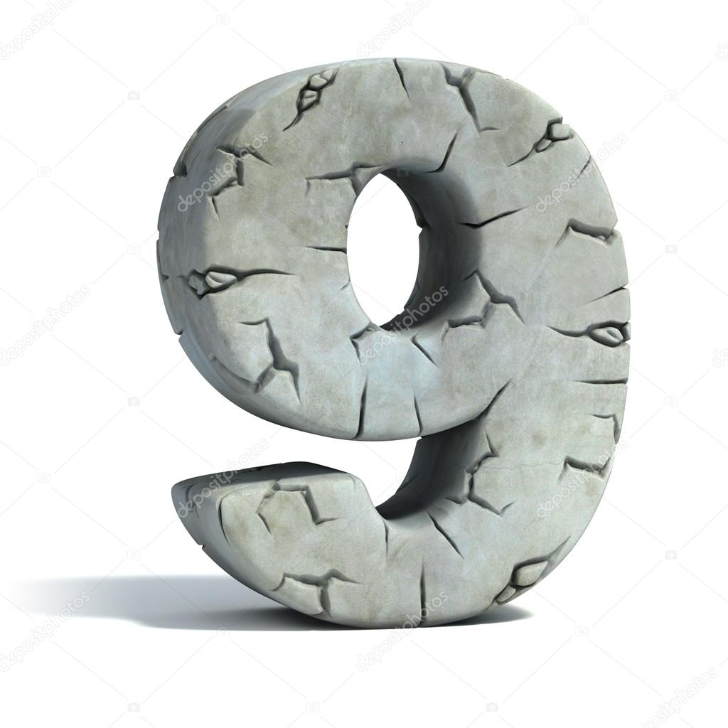 Number 9 cracked stone 3d font