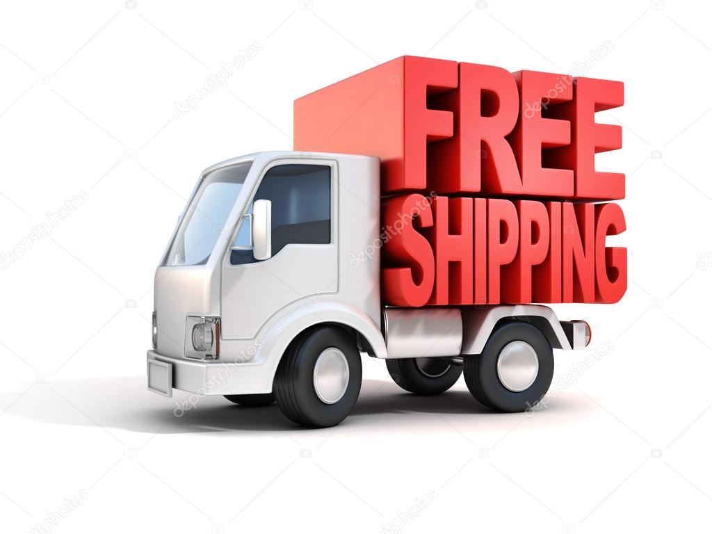 Ван доставка безкоштовна доставка буквами на спині– стокове зображення 0b38e78059825