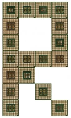 letter R  made of old and dirty microprocessors