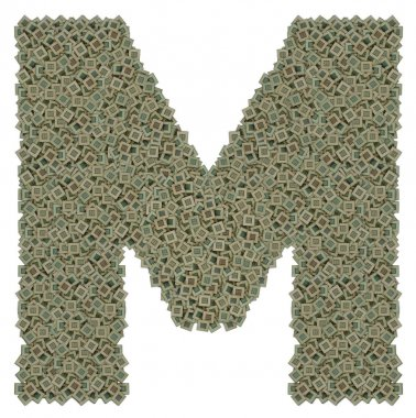 letter M made of old and dirty microprocessors, isolated on white background