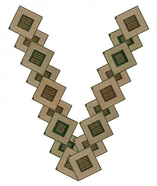 letter V made of old and dirty microprocessors