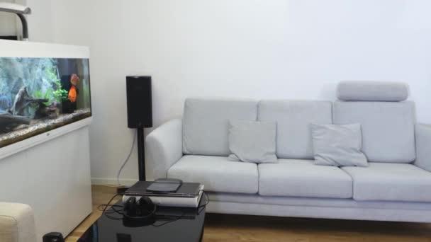 Krásný výhled na interiér moderního obývacího pokoje. Bílý krb, světle barevný nábytek na bílém pozadí zdi.