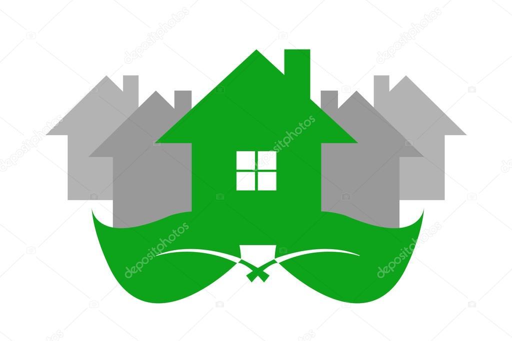 Foto Case Grigie : Casa verde di ecologia e case grigie u vettoriali stock frank