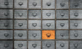 Fotografie Apotheker-Holz-Kasten mit Schubladen