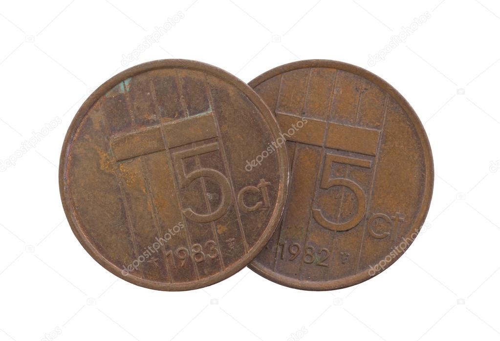 Alte 5 Euro Cent Münzen Isoliert Stockfoto Michaklootwijk