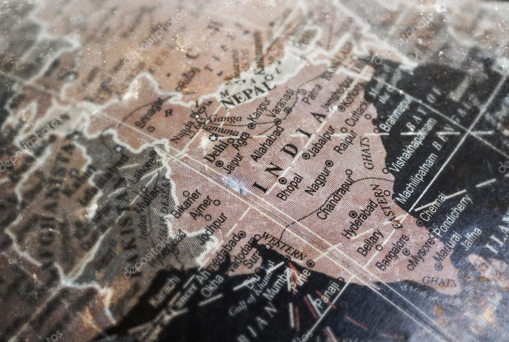 Carte De Linde Mysore.Carte De L Inde Sur Vintage Crack Fond De Papier Photographie
