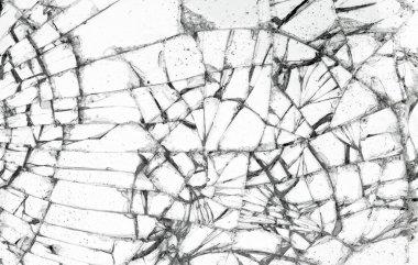 Full screen broken glass, white background