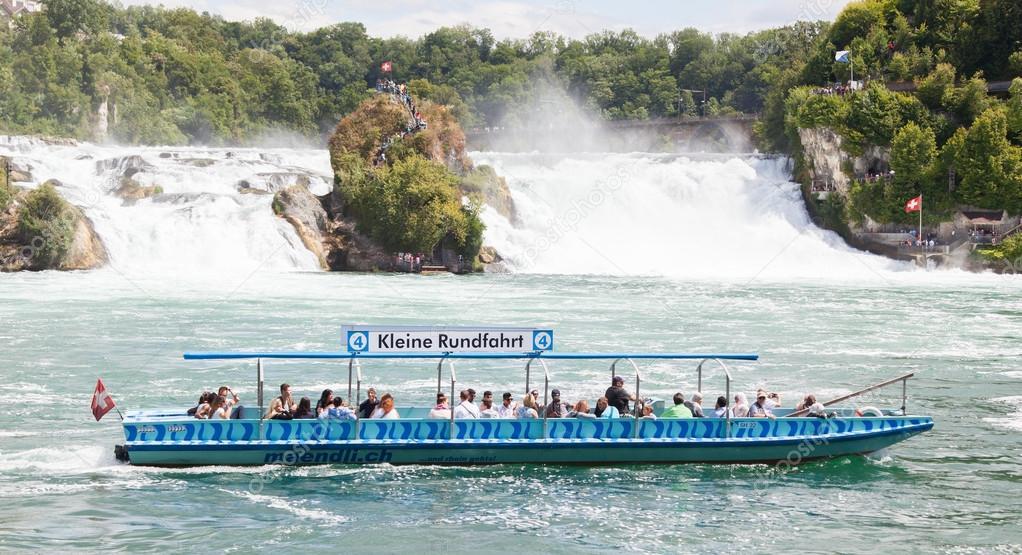 RHEINFALLS, SWITZERLAND - JULY 25, 2015: View to the biggest wat