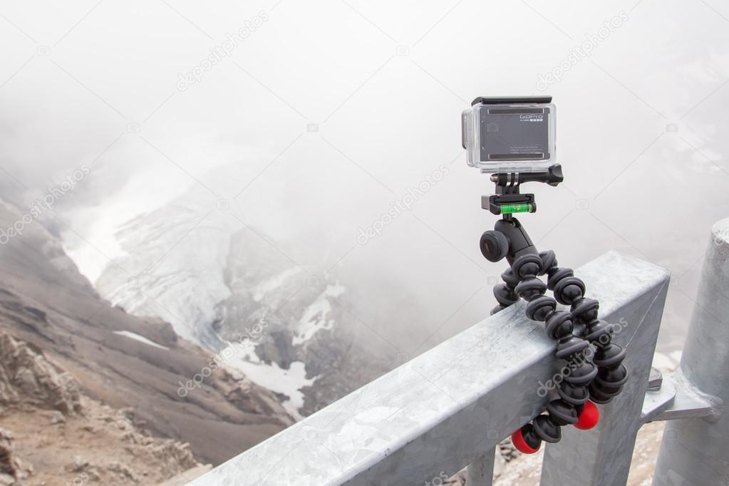 LES DIABLERETS, SWITZERLAND - JULY 22, 2015: Closeup of GoPro He
