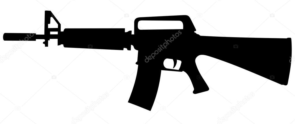 M16 machine gun silhouette — Stock Vector © Yyordanov #63199907