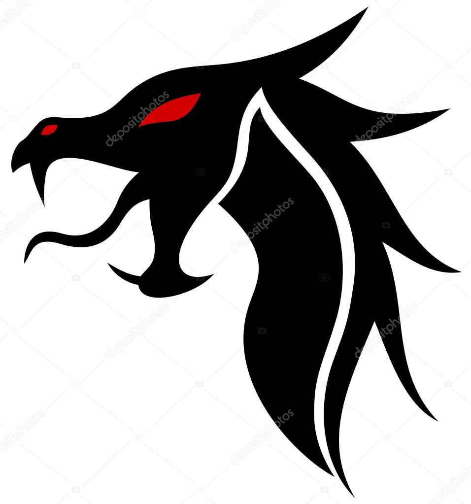 dragon head silhouette — Stock Vector © Yyordanov #77453924