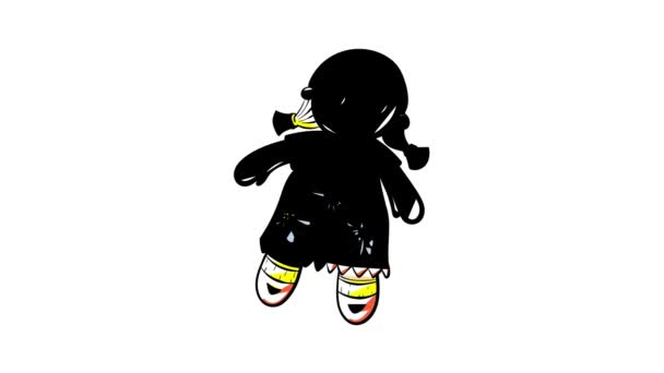 Cute doll toy icon animation