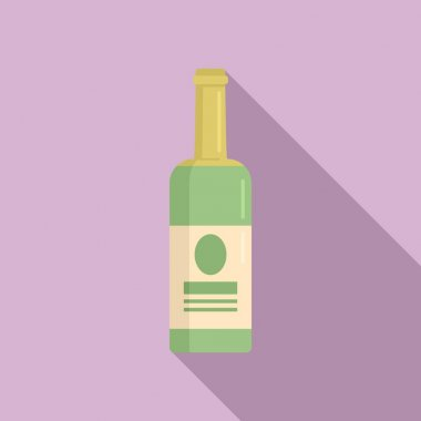 White wine bottle icon. Flat illustration of white wine bottle vector icon for web design icon