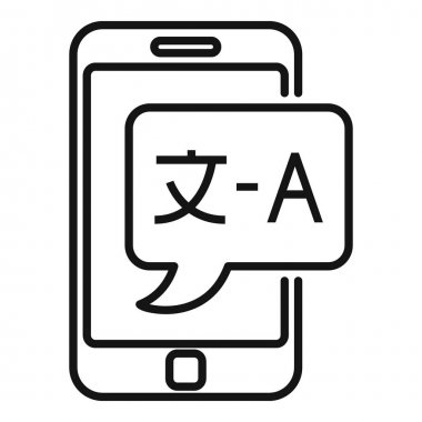 Smartphone live translation icon. Outline smartphone live translation vector icon for web design isolated on white background icon