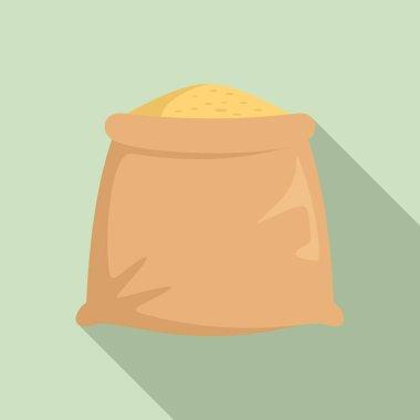 Wheat sack icon. Flat illustration of wheat sack vector icon for web design icon