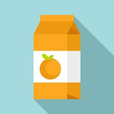 Orange juice pack icon. Flat illustration of orange juice pack vector icon for web design icon