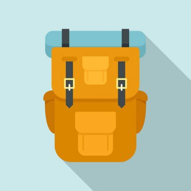 Hiking backpack icon. Flat illustration of hiking backpack vector icon for web design icon