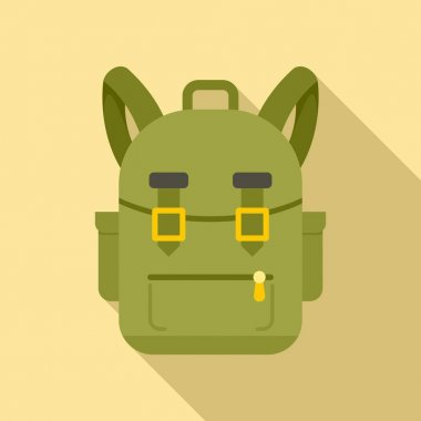Camping backpack icon. Flat illustration of camping backpack vector icon for web design icon