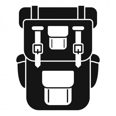 Hiking backpack icon. Simple illustration of hiking backpack vector icon for web design isolated on white background icon