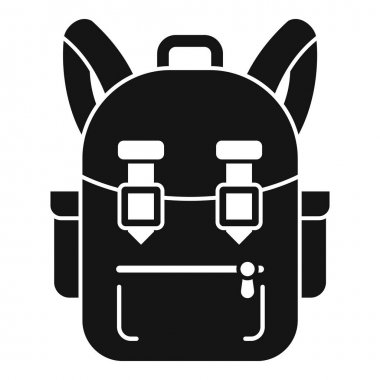 Camping backpack icon. Simple illustration of camping backpack vector icon for web design isolated on white background icon