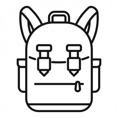 Camping backpack icon. Outline camping backpack vector icon for web design isolated on white background icon