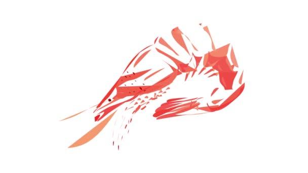 Nyers garnélarák ikon animáció