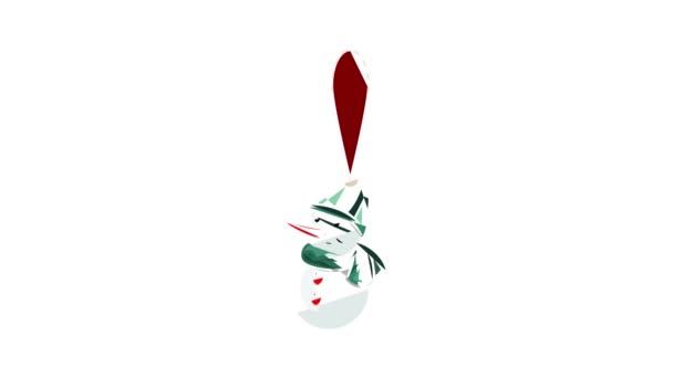 Vánoční hračka sněhulák ikona animace