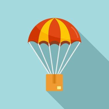 Parachuting parcel icon. Flat illustration of Parachuting parcel vector icon for web design icon