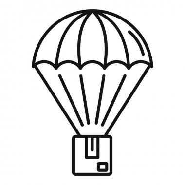 Parachuting parcel icon. Outline Parachuting parcel vector icon for web design isolated on white background icon