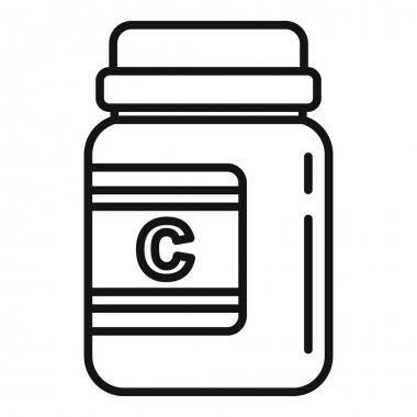 Vitamin jar icon. Outline Vitamin jar vector icon for web design isolated on white background icon