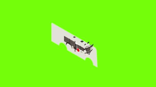 Panda school bus icon animation