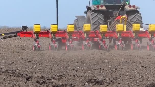 Tractor and Seeder Planting Crops