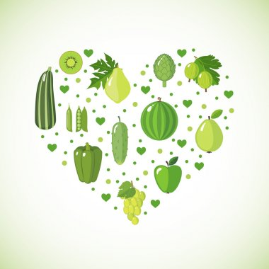 Heart shape with green fruits and vegetables