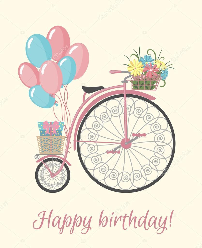 Feliz Cumpleanos Con Globos Y Flores Estilo Bicicleta Retro Con