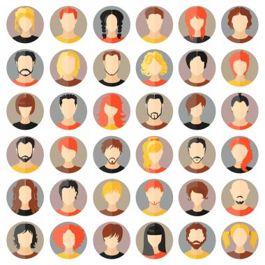 Vector set of stylish avatars. Girls and guys
