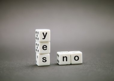Dice with inscription 'yes' and 'no'
