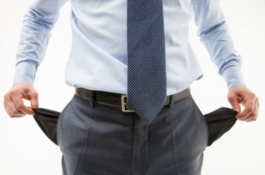 Businessman demonstrating his pockets