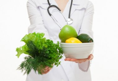 Dietarian proposing greens and fruits