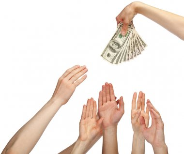 Hands reaching out for banknotes