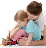 Fényképek Fiatal anya és lánya, rajz