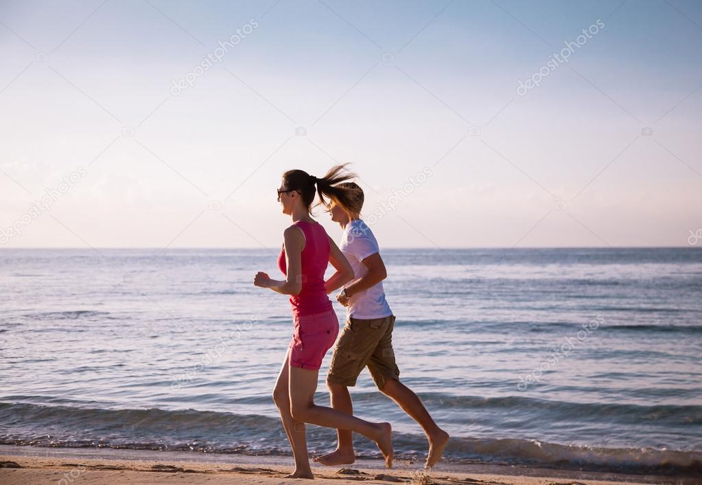 Young couple on coast