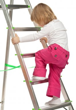 baby girl with  stepladder