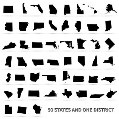 United States of America 50 states and 1 federal district. US states map. stock vector