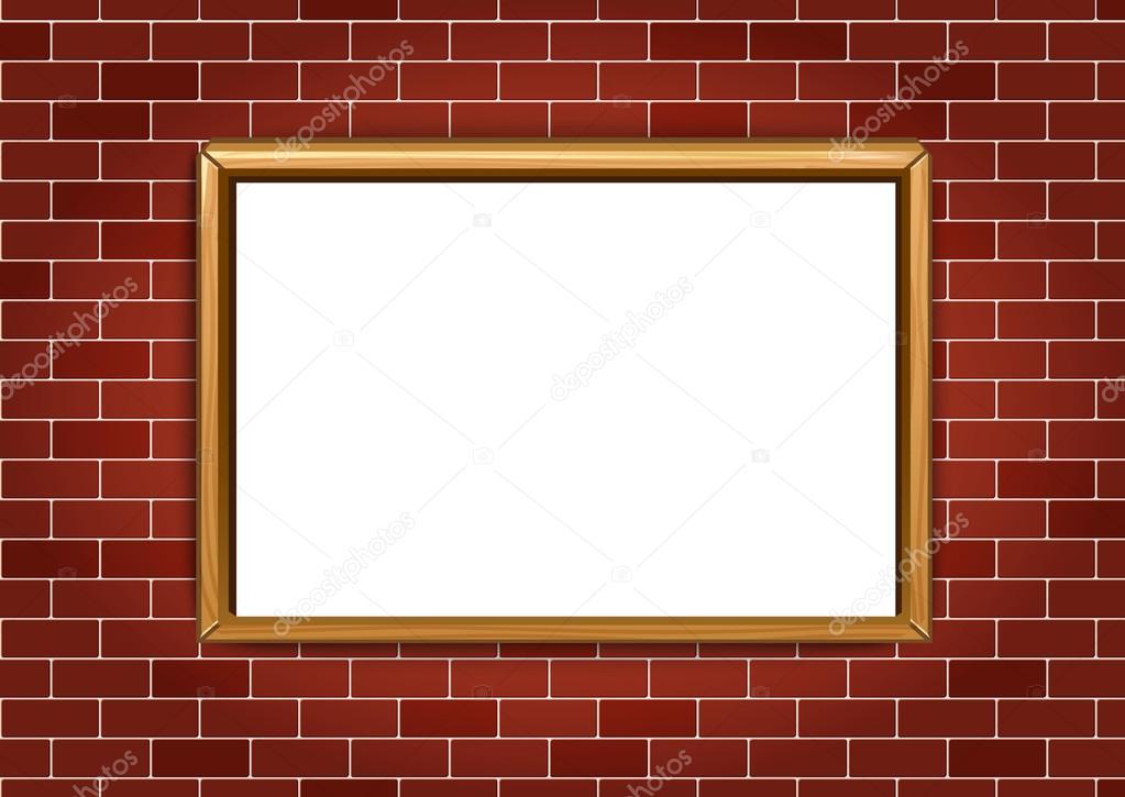 Marco para cuadros o fotografías en el fondo de pared de ladrillo ...